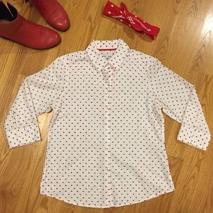 Swiss dot red and white button down shirt